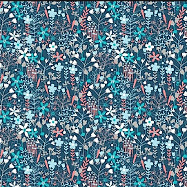 Viskosewebstoff Wiesenblümchen, petrolblau