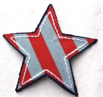 Applikation Stern, rot-blau gestreift