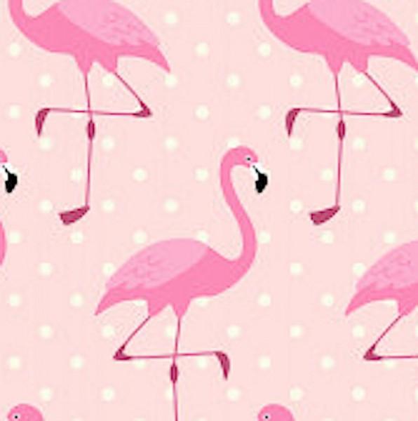Flamingos und Punkte rosa Webstoff