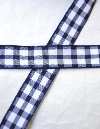 Stoffband, dunkelblau kariert (groß), 15 mm