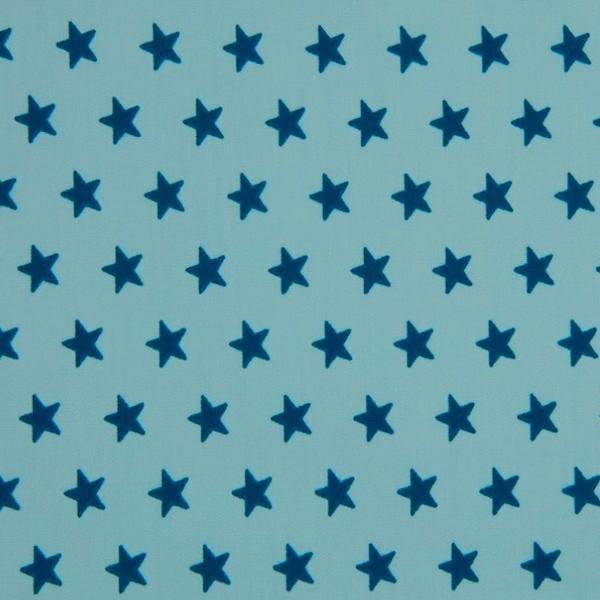 Mira Sterne petrol auf aqua, Webstoff
