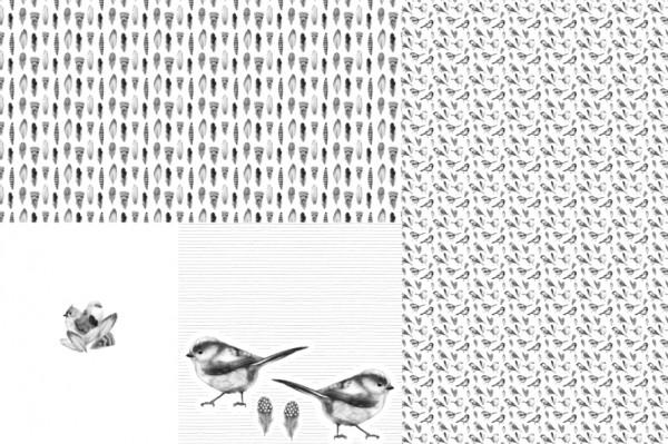 Stenzo Digitaldruck Vögelchen weiß, Paneel, Jersey
