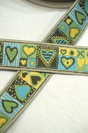 Herzen Patchwork, grün-blau, Webband *SALE*