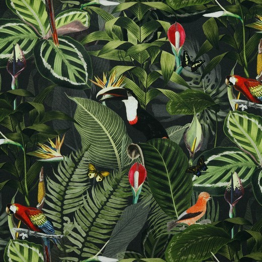 Dekostoff, Digitaldruck Urwald&Vögel