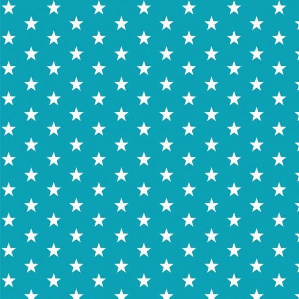 Lili Small Star weiß, türkis, Webstoff, waschbar bei 60°