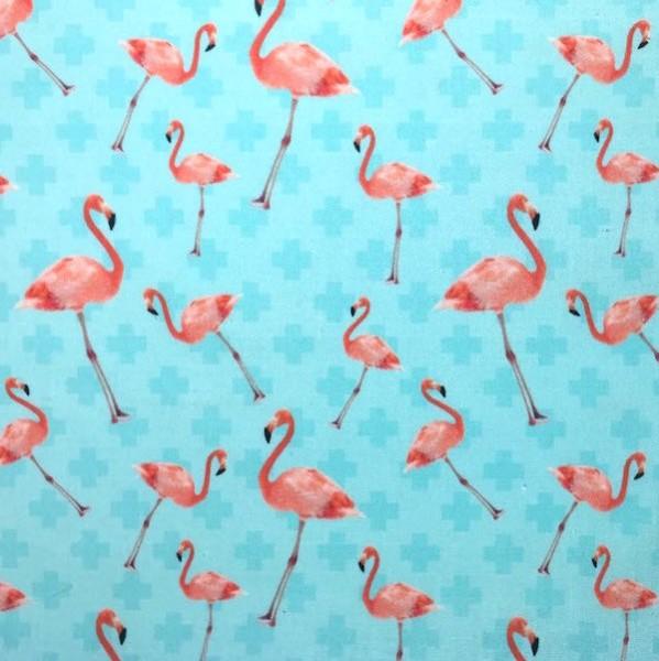 Dekostoff Flamingo auf aqua