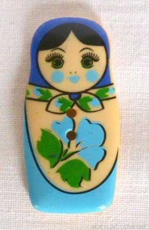 Matroschka, blau, Knopf