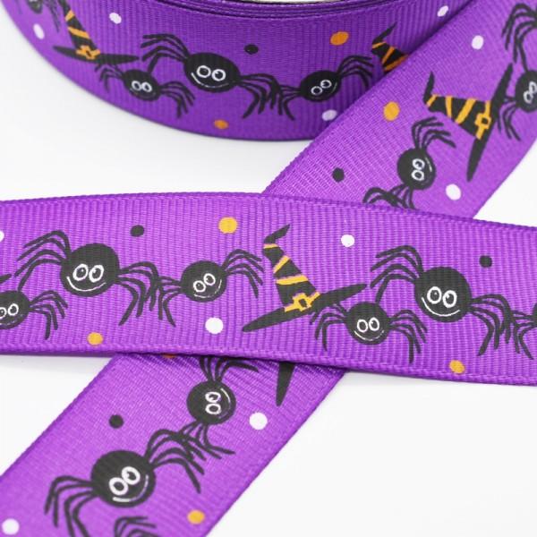 Ripsband, Halloween Spinnen mit Zauberhut, violett