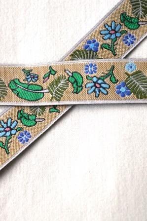 Blumen, Leinenoptik, blau, Webband