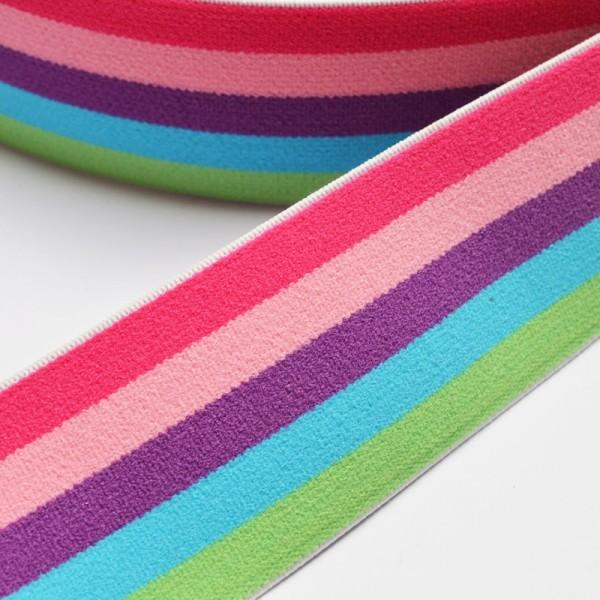 Gummiband breit, Streifen pink-lila-blau