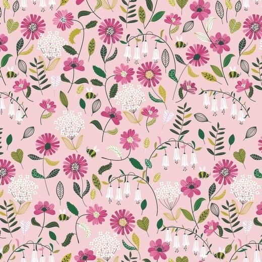 Blumenwiese rosa, extraweicher Baumwollstoff, waschbar bei 60°