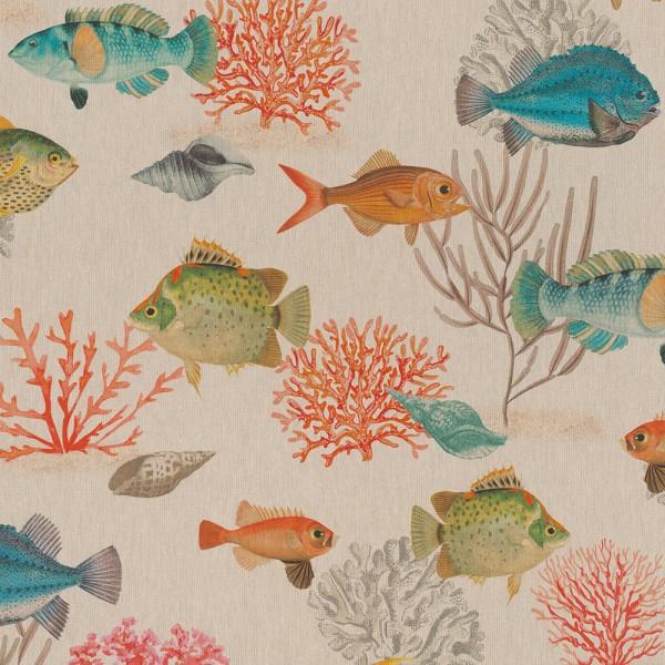 Dekostoff, Digitaldruck Fische und Korallen auf leinen