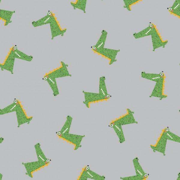 Krokodile grün auf grau, Jersey