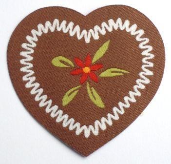 Applikation Herz mit Blume, weiß