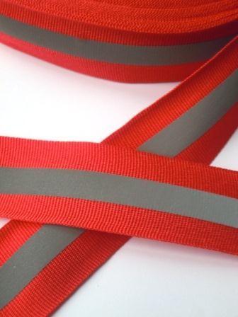 reflektierendes Ripsband, rot, breit