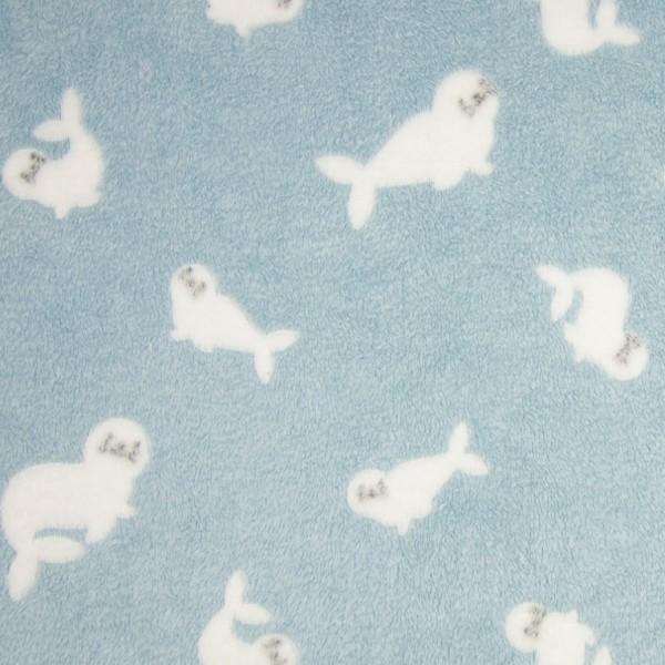 Microfleece Baby-Robben auf hellblau, *SALE*