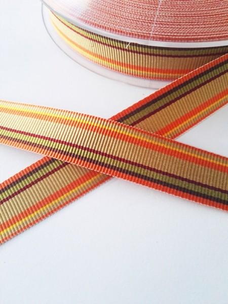 Streifen braun-orange-grün, Ripsband