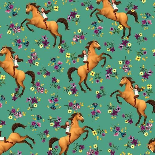 Digitaldruck, Horse Spirit&Girl auf mintgrün, Jersey