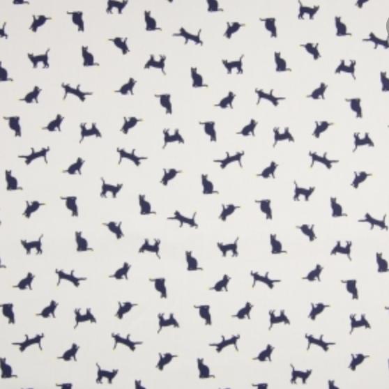 Kleine Kätzchen nachtblau auf weiß, Baumwollpopeline