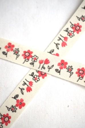 Stoffband, Blumen, rot *SALE*