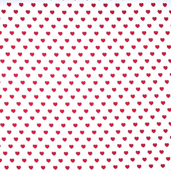 Herzen klein, rot auf weiß, Webstoff
