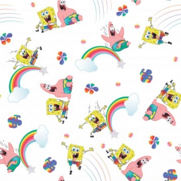 Sponge Bob Figuren&Regenbogen auf weiß, Baumwoll-Popeline