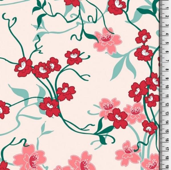 Rubie Flowers auf rosa, Webstoff