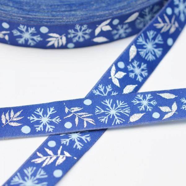 Snowflake, blau mit Glitzer, Webband