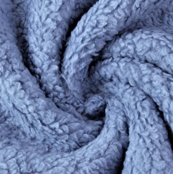 Baumwoll-Teddyplüsch, jeansblau
