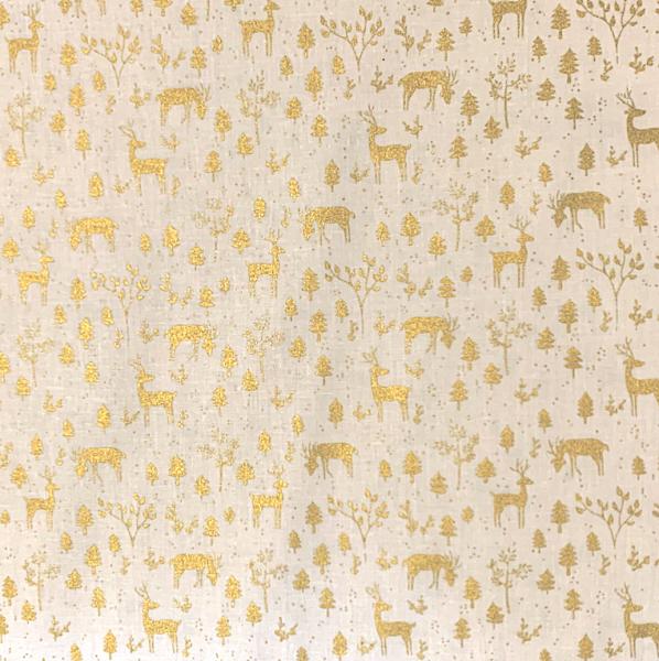 Xmas, Hirsch im wald gold auf offwhite, Baumwollstoff