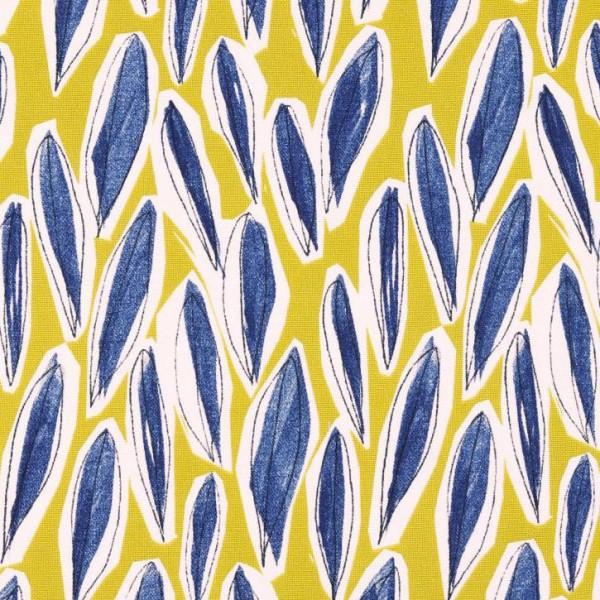 Leaves senf/blau, Dekostoff