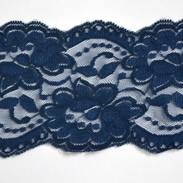 breite elastische Spitze, dunkelblau