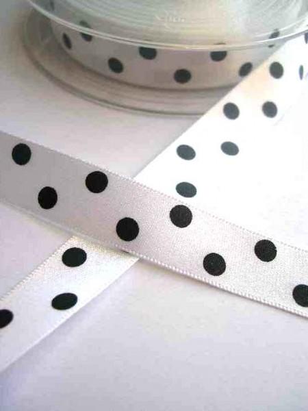 Satinband, polka dots, weiß, 15 mm