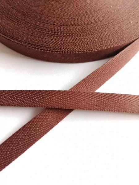 Köperband, 10 mm, schokobraun