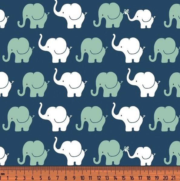 Elefantenparade mint/weiß auf dunkelblau, Jersey
