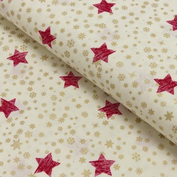 Rudi, Rote Sterne mit gold auf offwhite, Baumwollstoff