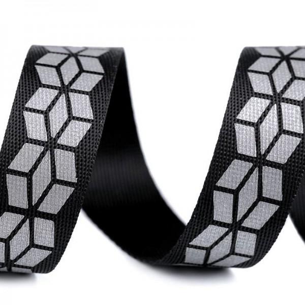 Gurtband, schwarz mit reflektierendem Druck, 20 mm