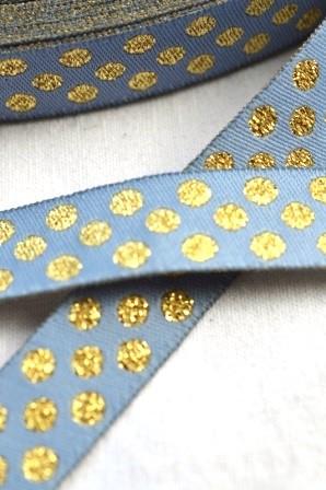 Glitzer Punkte, grau-gold, Webband
