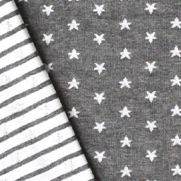 Alberto Bio-Doubleface Strickstoff Sterne grau auf grau/weiß