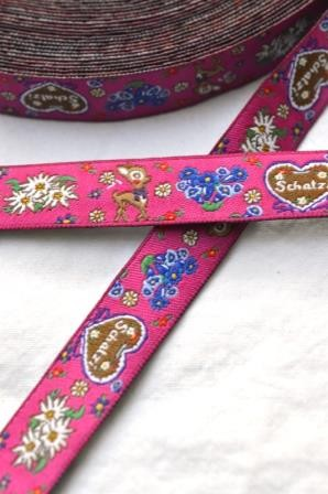 Alpenband, pink, Webband