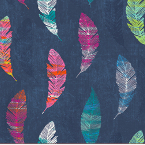 Digitaldruck, Federn auf dunkelblau, fester Baumwollstoff