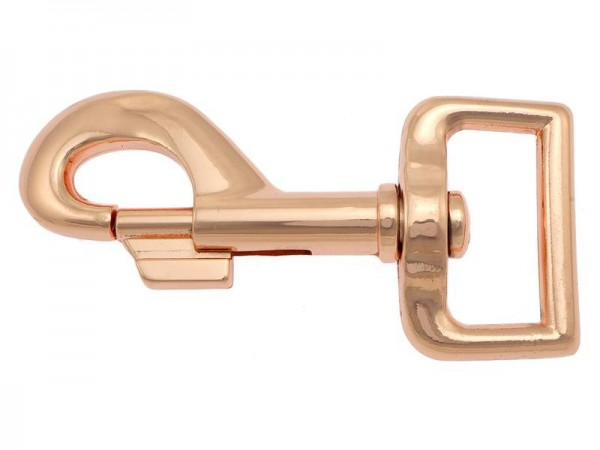 Karabiner, massiv, 81/25 mm, kupfer/ rose gold