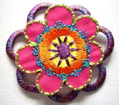 Applikation Blume, pink-lila