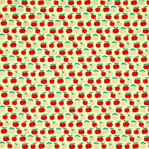 Glitzer-Äpfelchen rot auf hellgrün, Baumwolllstoff, waschbar bei 60°