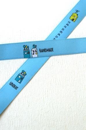 Handmade In der Stadt, hellblau/gelb, Webband