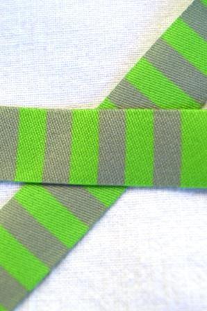 Ringelband, grün-grau, Webband beidseitig