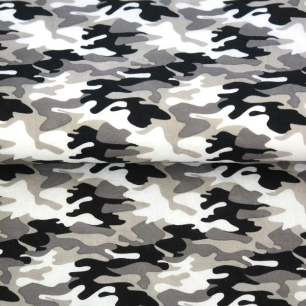 Baumwollpopeline, Camouflage grau/schwarz, waschbar bei 60°