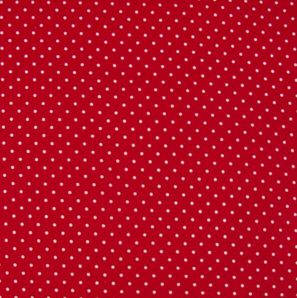 Alex, beschichtete Baumwolle, Pünktchen weiß auf rot