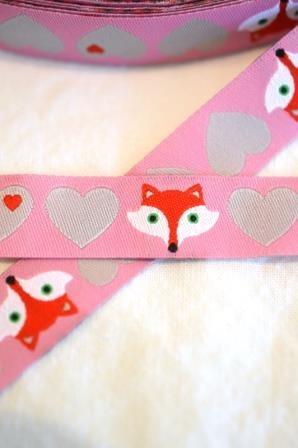 Herzen mit Fuchs, rosa, Webband