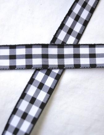 Stoffband, schwarz kariert (groß), 15 mm